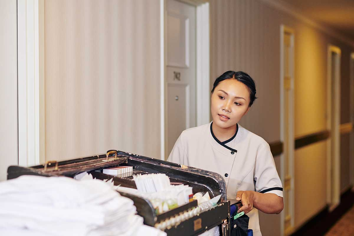 dispatch-center-housekeeper-2Dispatch Center Protect Housekeeper Alone Hotel Hallway